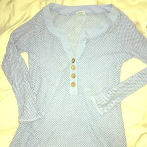 Swimsuit Cover Up Long Sleeve Light Blue Large
